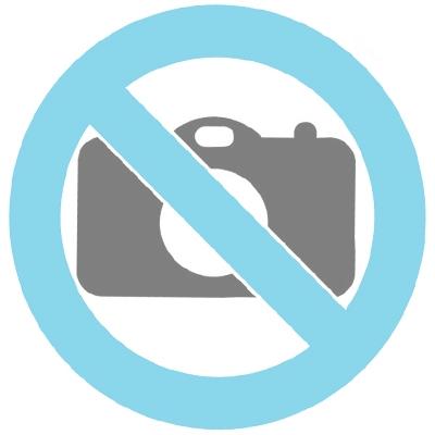 Stalen urn blauw parelmoer met goudkleurige band